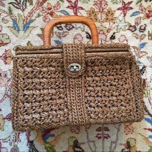 Vintage wicker straw bag purse